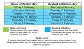 Bin Changes Due To Adverse Weather