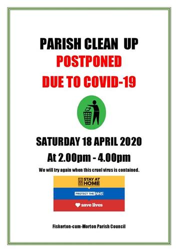 - VILLAGE CLEAN UP POSTPONED