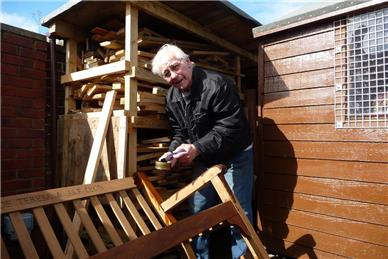 Final touches to the bench - A Spring sunny day at the Shed with guest Jordan