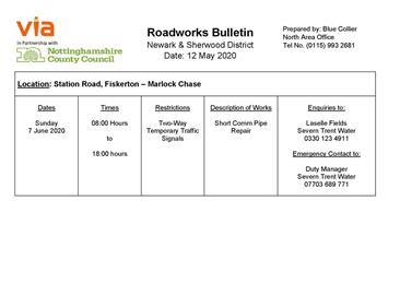 - Two Way Traffic signals Station Road Fiskerton on Sunday  7 June 2020