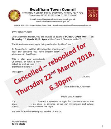 - Swaffham Allotment Forum CANCELLED