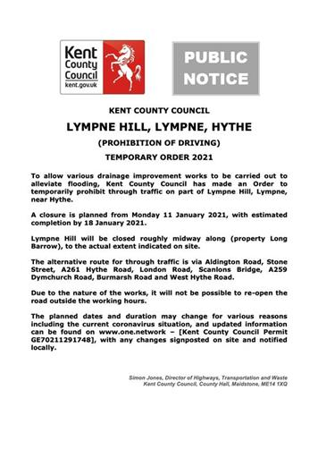 - Temporary Road Closure – Lympne Hill, Lympne, Hythe – 11-18 January 2021