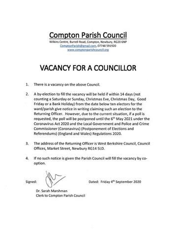 - Vacancy for a Councillor