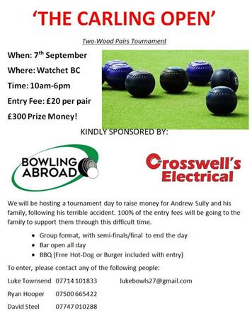 - Bowls Tournament for Andrew Sully