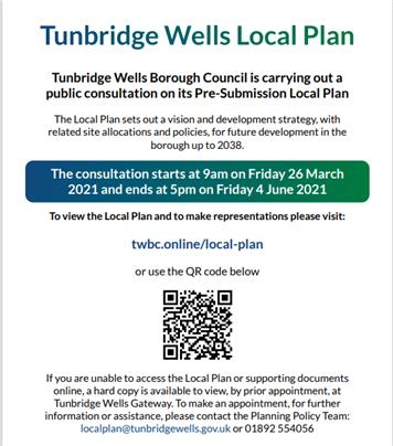 - Pre-submission of TWBC Local Plan
