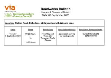 - Temporary Traffic Signals on Station Road 8 September 2020