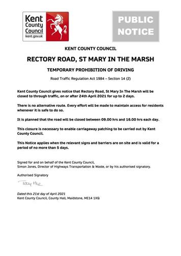 - Urgent Road Closure - Rectory Road, St Mary In The Marsh - 24th April 2021 (Folkestone & Hythe)