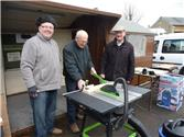 Using our new saw followed by al fresco fish & chips!