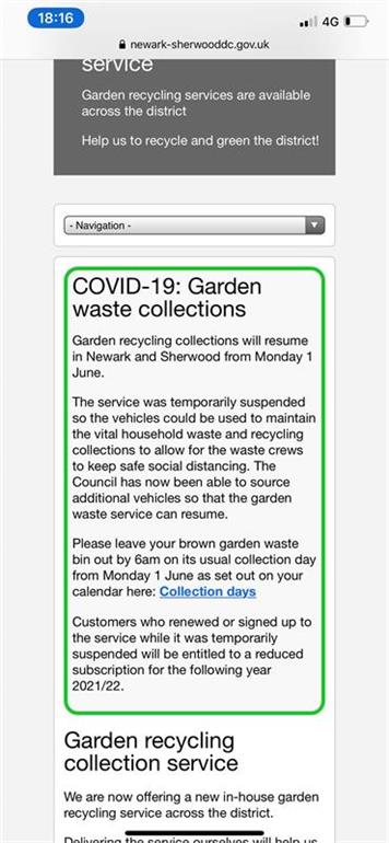 - Garden waste will be  collected in FCM on 2 June 2020