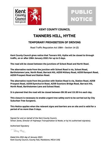 - Urgent Road Closure - Tanners Hill, Hythe - 28th January 2021 (Folkestone & Hythe)