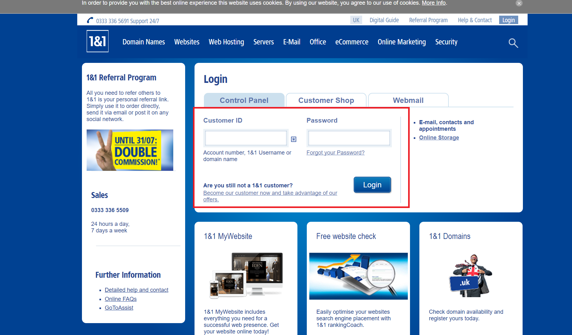 Online login 1&1 Domain Names