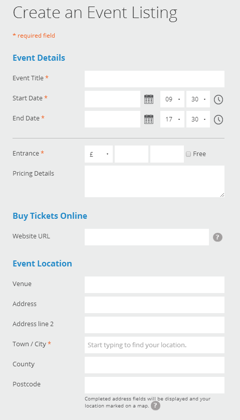 Figure 16: How to creating an event listing