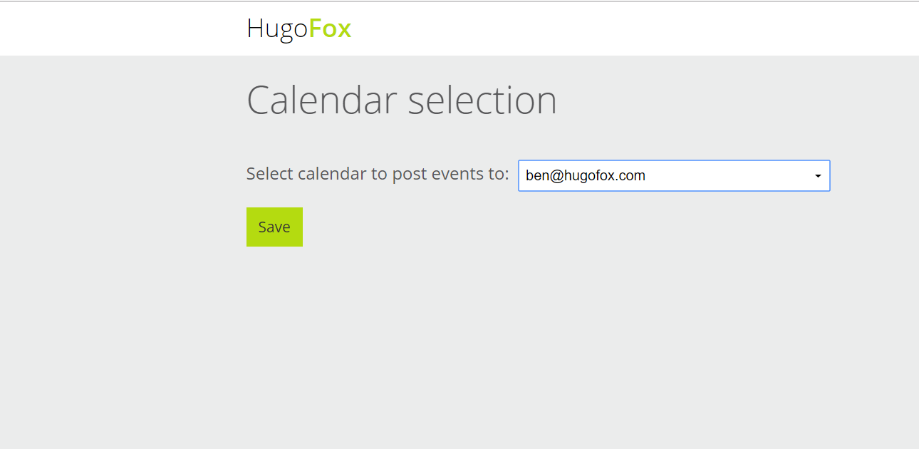Click the calendar you want events to post to