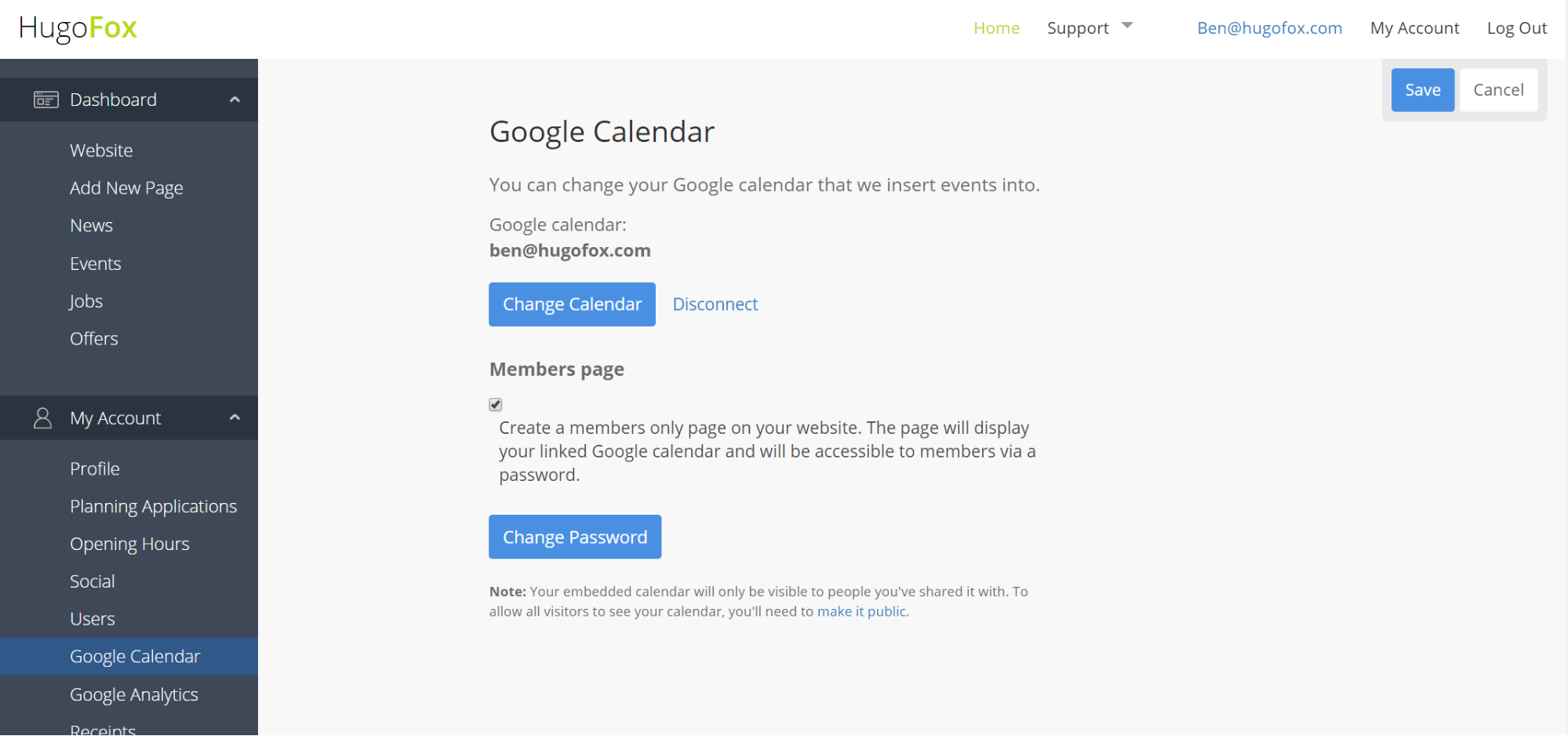 That's it! Your Google Calendar is now linked to your HugoFox account.